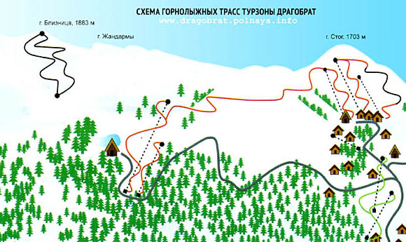 Схема лыжных трасс Драгобрата